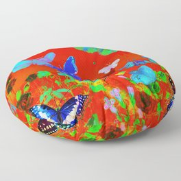 Red Butterflies & Flowers Floor Pillow