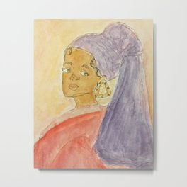 Girl with Bamboo Earring Metal Print