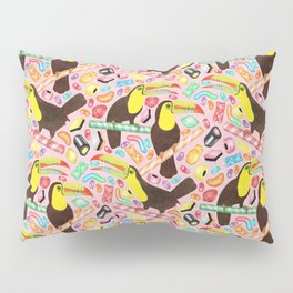 Toucandy - a sugary paradise with jelly beans and licorice surround tropical toucans on candy canes Pillow Sham