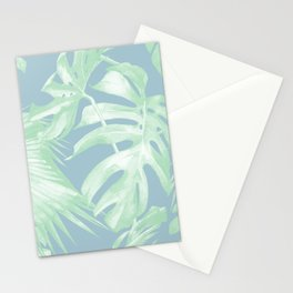 Tropical Leaves Luxe Pastel Sea Turquoise Blue Green Stationery Cards