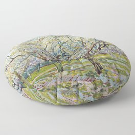 The White Orchard by Vincent van Gogh Floor Pillow