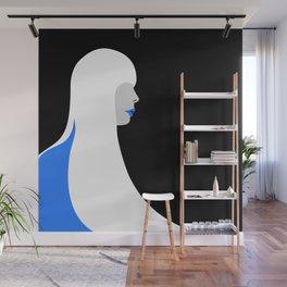 Joni Mitchell portrait (blue) Wall Mural