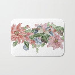 Watercolor Birds and Flowers Bath Mat