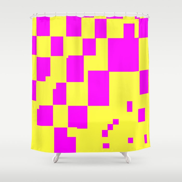 Egg Yellow-Fuchsia City Scapes Abstract Shower Curtain