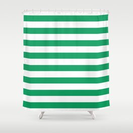 Green and white stripes Shower Curtain