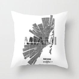 Miami Map Throw Pillow