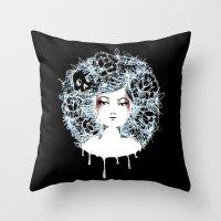 sylvia plath Throw Pillows featuring Sylvia by Kate Helen Muir