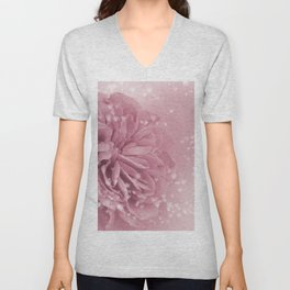 Light Pink Rose with hearts #1 #floral #art #society6 Unisex V-Neck