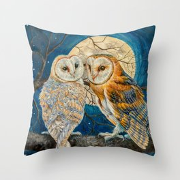 Owls Moon Stars Throw Pillow
