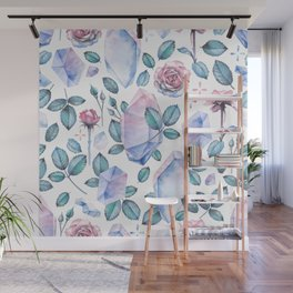 Watercolor crystal and rose leaves Wall Mural
