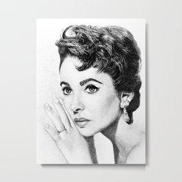 Elizabeth Taylor Stippling Portrait Metal Print