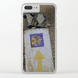 Camino Route Marker and Old Boots Clear iPhone Case