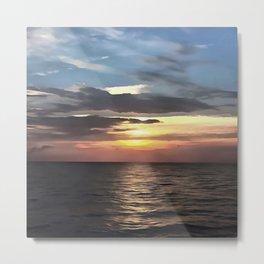 Pefect Living Coral Colored Ocean Sunrise Metal Print