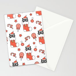 cute cartoon black baby cat in christmas gift sock and holiday elements pattern Stationery Cards