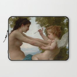 """William-Adolphe Bouguereau """"A Young Girl Defending Herself against Eros"""" Laptop Sleeve"""