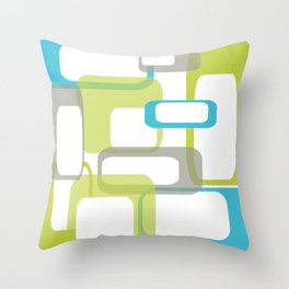 Mid-Century Modern Rectangle Design Blue Green and Gray Throw Pillow