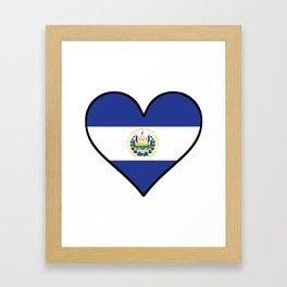 El Salvadorian Flag Heart Framed Art Print