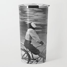 Women Riding Bicycles black and white photography / black and white photographs Travel Mug