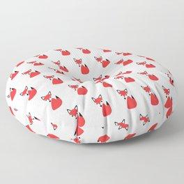 Cute Little Funky Fox Cartoon Pattern All In A Row Floor Pillow