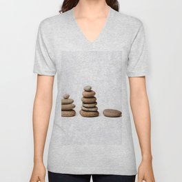 Zen stones in a row Unisex V-Neck