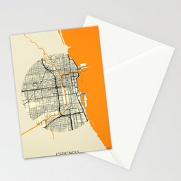 Chicago Map Moon Stationery Cards