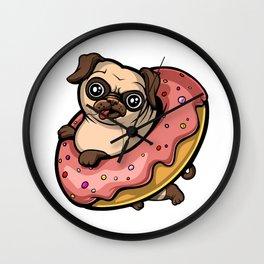 Pug Dog Riding Donut Wall Clock