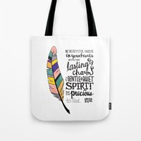 scripture Tote Bags featuring Be Beautiful Inside - handlettered scripture by Megan Schreurs
