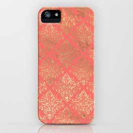 Coral Gold Damask Pattern iPhone Case