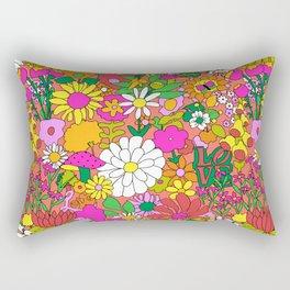 60's Groovy Garden in Neon Peach Coral Rectangular Pillow