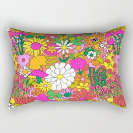 60's Groovy Garden in Neon Peach Coral Rectangular Pillow