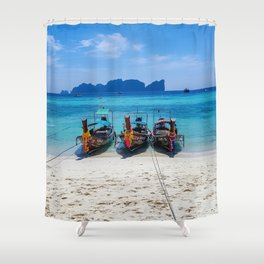 Island Hopping on Longtails Shower Curtain