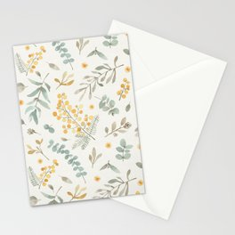 Australian wattle and eucalyptus watercolor floral Stationery Cards