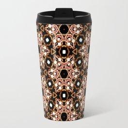Black Pink and Gold Beadwork Inspired Print Travel Mug