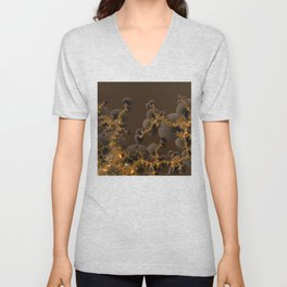 Organic Explosion of Chocolates - Fractal Golden Lava Unisex V-Neck