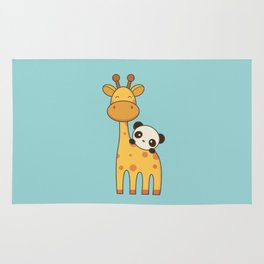 Cute and Kawaii Giraffe and Panda Rug