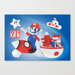 Skull Mario Space Jumper Canvas Print
