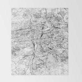 Prague White Map Throw Blanket