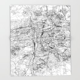 Prague White Map Throw Blanket