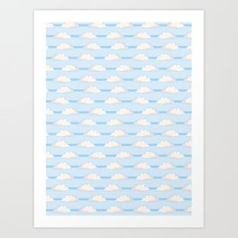 Hand drawn vector cloud illustration. Seamless repeating pattern Art Print
