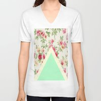 floral pattern V-neck T-shirts featuring Floral pattern by ''CVogiatzi.