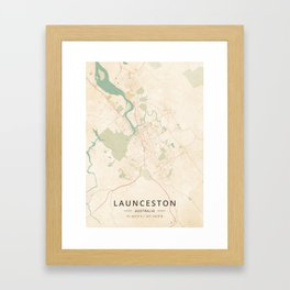 Launceston, Australia - Vintage Map Framed Art Print