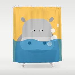 Hippo, geometric & minimalism Shower Curtain