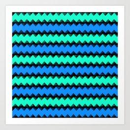 Aqua and Blue Sawtooth Pattern Art Print