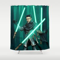 jedi Shower Curtains featuring Tesla - Jedi Consular by Salty!