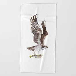 Osprey and Rainbow Trout Beach Towel
