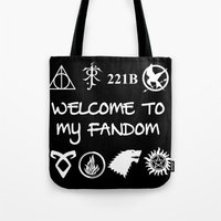 fandom Tote Bags featuring Welcome To My Fandom by Lunil