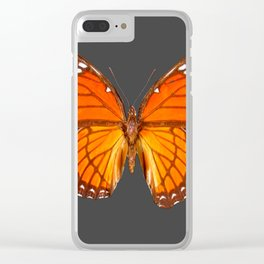CHARCOAL GREY ORANGE MONARCH BUTTERFLY Clear iPhone Case