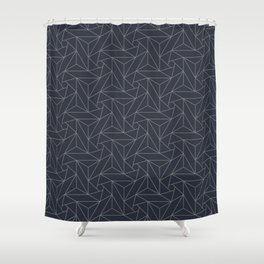 Gray & Dark Blue Abstract Triangle Geometric Mosaic Shape Pattern Pairs To 2020 Color of the Year Shower Curtain