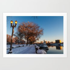 Snow: Portland Waterfront Art Print