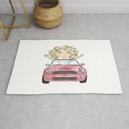 Girl Driving A Car Rug